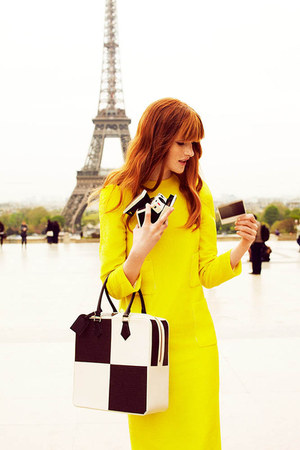 yellow Louis Vuitton dress - black Louis Vuitton bag - white Louis Vuitton bag