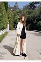 dark gray shorts - cream coat - dark gray blouse - black sandals