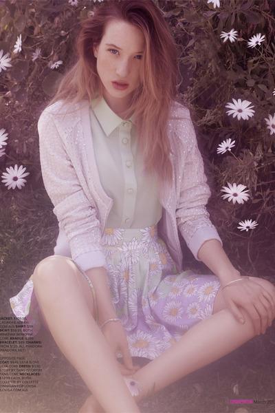 ivory shirt - light purple cardigan - silver accessories - light purple skirt