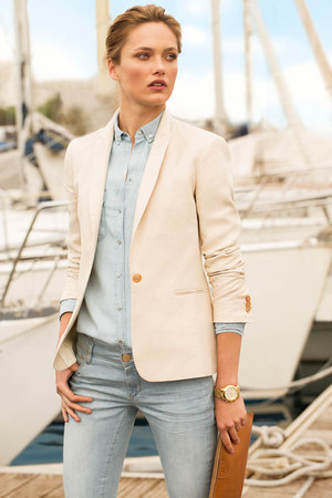 sky blue Massimo Dutti jeans - cream Massimo Dutti blazer