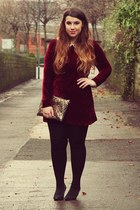 black Primark shoes - ruby red OhMylove dress - bronze Ebay bag