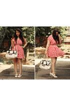 red Motel Rocks dress - white unknown brand bag - ivory Primark heels