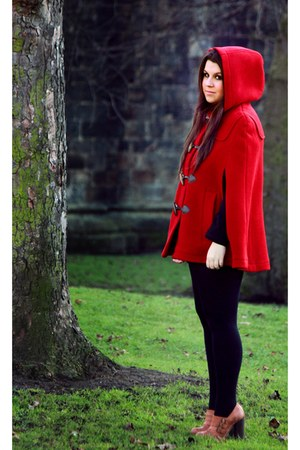 red Topshop cape - brown Topshop shoes - black Primark tights