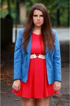 hot pink Jane Norman dress - sky blue Vinatge blazer - white Peacocks belt