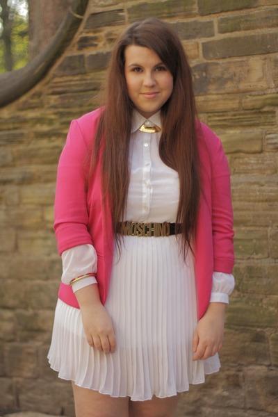 white Missguided dress - hot pink Missguided blazer - black Ebay belt