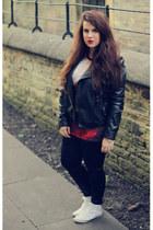 black Primark jacket - black Primark leggings - red galaxy print Ebay t-shirt