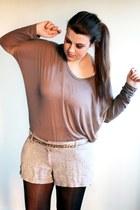 tan Topshop top - heather gray Primark shorts - bronze Dunnes belt