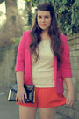 Hot-pink-misguided-blazer-carrot-orange-primark-shorts