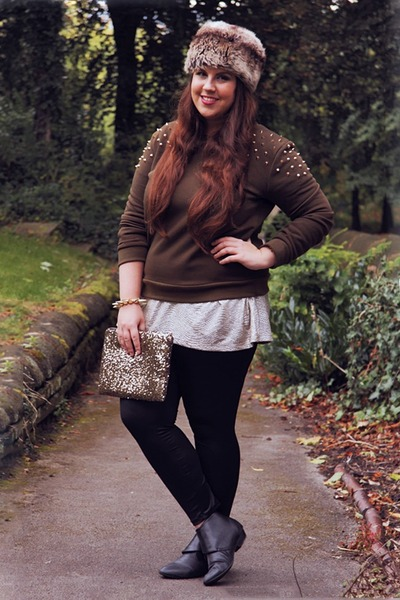 beige Primark hat - camel Ebay bag - dark green Missguided jumper