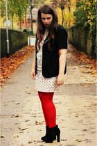 red Ebay stockings - white Vero Moda dress - black thrifted blazer
