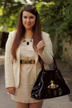 H&M dress - French Connection blazer - vivienne westwood bag - Moschino belt