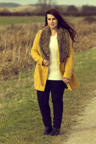 gold Primark coat - cream new look jumper - black warehouse pants