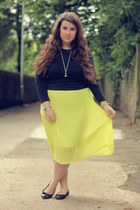 yellow new look skirt - silver vivienne westwood necklace - black Primark top