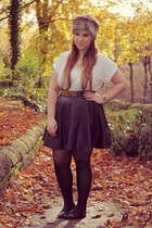 Primark hat - black Topshop skirt - burnt orange Mosch belt - silver Topshop top