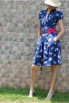 blue Anthropologie dress - beige Nine West hat - silver Nine West shoes - pink a