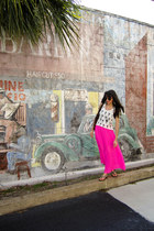 hot pink pink maxi skirt Victorias Secret skirt - white Forever21 top
