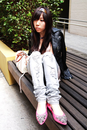 silver ripped lip service jeans - beige Gucci bag - light pink meshed Topshop to