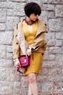 Gold-herve-leger-dress-tan-twisted-sisters-coat-brick-red-sophie-hulme-bag