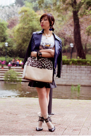 light brown Furla bag - navy leather biker nastygal blazer