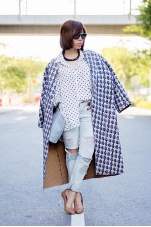 violet Sonia Rykiel coat - light blue distressed Zara jeans