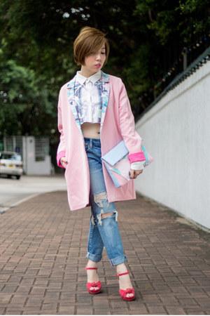 bubble gum Blind by JW coat - blue American Eagle jeans