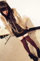 black Jeffrey Campbell boots - ruby red Topshop socks - mustard fur Forever21 ve