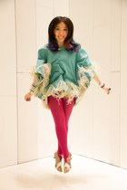 fringed Irregular Choice cape - fish-looking custom made from HK shoes