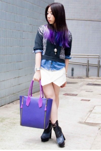 purple ISCOV bag - navy Jeffrey Campbell boots - sky blue denim Topshop shirt