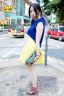 Blue-twisted-sisters-top-yellow-twisted-sisters-skirt