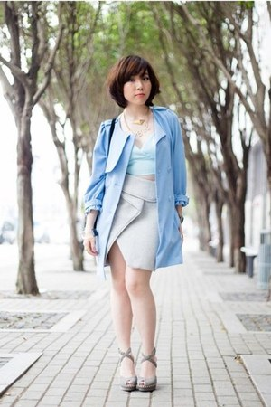 sky blue trench coat bread n butter coat - light blue Topshop bra