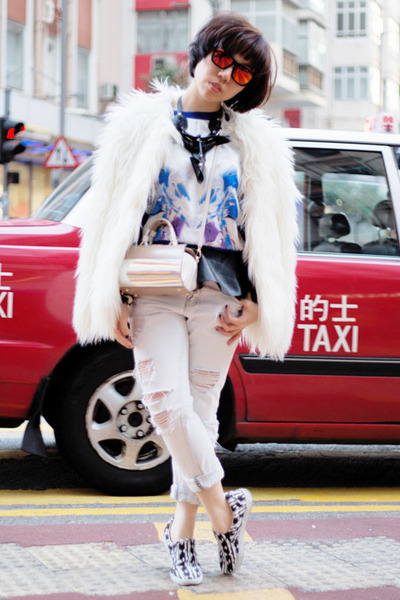 camel Furla bag - white faux fur Zara coat - light blue ripped Zara jeans