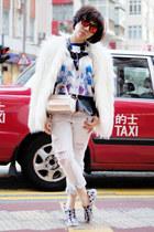 camel Furla bag - white faux fur Zara coat - light blue ripped Zara jeans