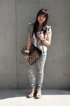 silver ripped lip service jeans - light pink ruffles KITTERICK vest