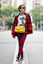 ruby red moussy blazer - gold Furla bag - ruby red SLY pants