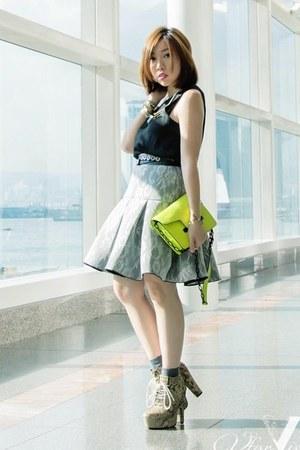 silver SARAH LAI skirt - lime green Mango boots
