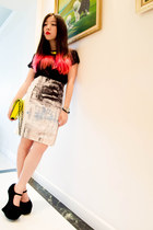 digital print H&M Trend skirt - neon clutch Werelse x Mango bag - another top