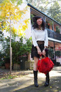 Red-fur-ramdon-hk-bag-leopard-print-h-m-belt-laced-forever21-skirt-h-m-top