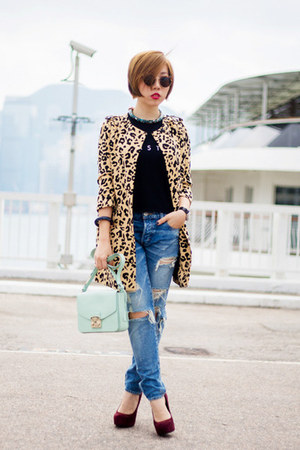 black moussy top - mustard leopard print SLY coat - blue moussy jeans