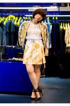 white versace t-shirt - gold Versace Jeans blazer - gold Versace Jeans skirt