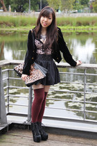 black lita fur Jeffrey Campbell boots - brick red Topshop socks