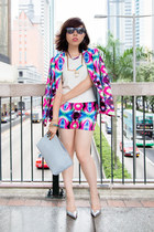 purple printed 113 Mountain Yam blazer - purple printed 113 Mountain Yam shorts