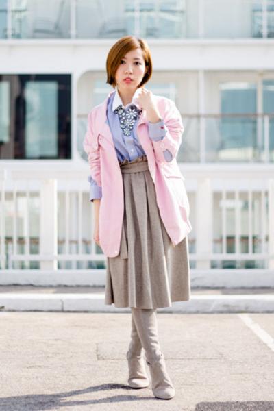 heather gray Malene Birger skirt - sky blue BROOKSFIELD LUX skirt