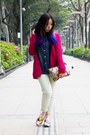 Light-yellow-forever21-jeans-hot-pink-zara-blazer
