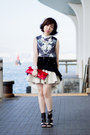 Gray-printed-flux-shirt-red-miu-miu-bag-navy-methodology-skirt