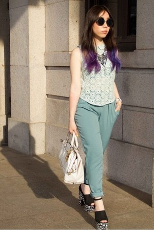white coach bag - aquamarine crochet asos top - navy Jeffrey Campbell wedges