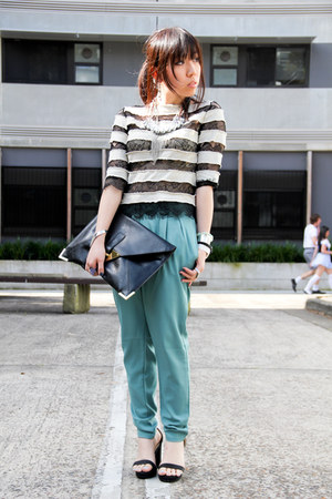 light blue random pants - black envelop clutch asos bag