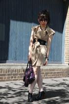 beige KITTERICK dress - studded DIY boots - purple balenciaga bag