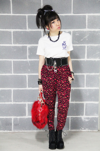 random from japan top - Jeffrey Campbell boots - leopard print H&M pants