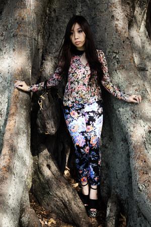 floral Zara shirt - Prada bag - floral asos pants - Jeffrey Campbell heels