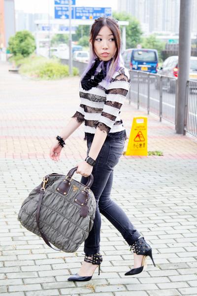 black Levis jeans - olive green Prada bag - black Truth or Dare by Madonna heels